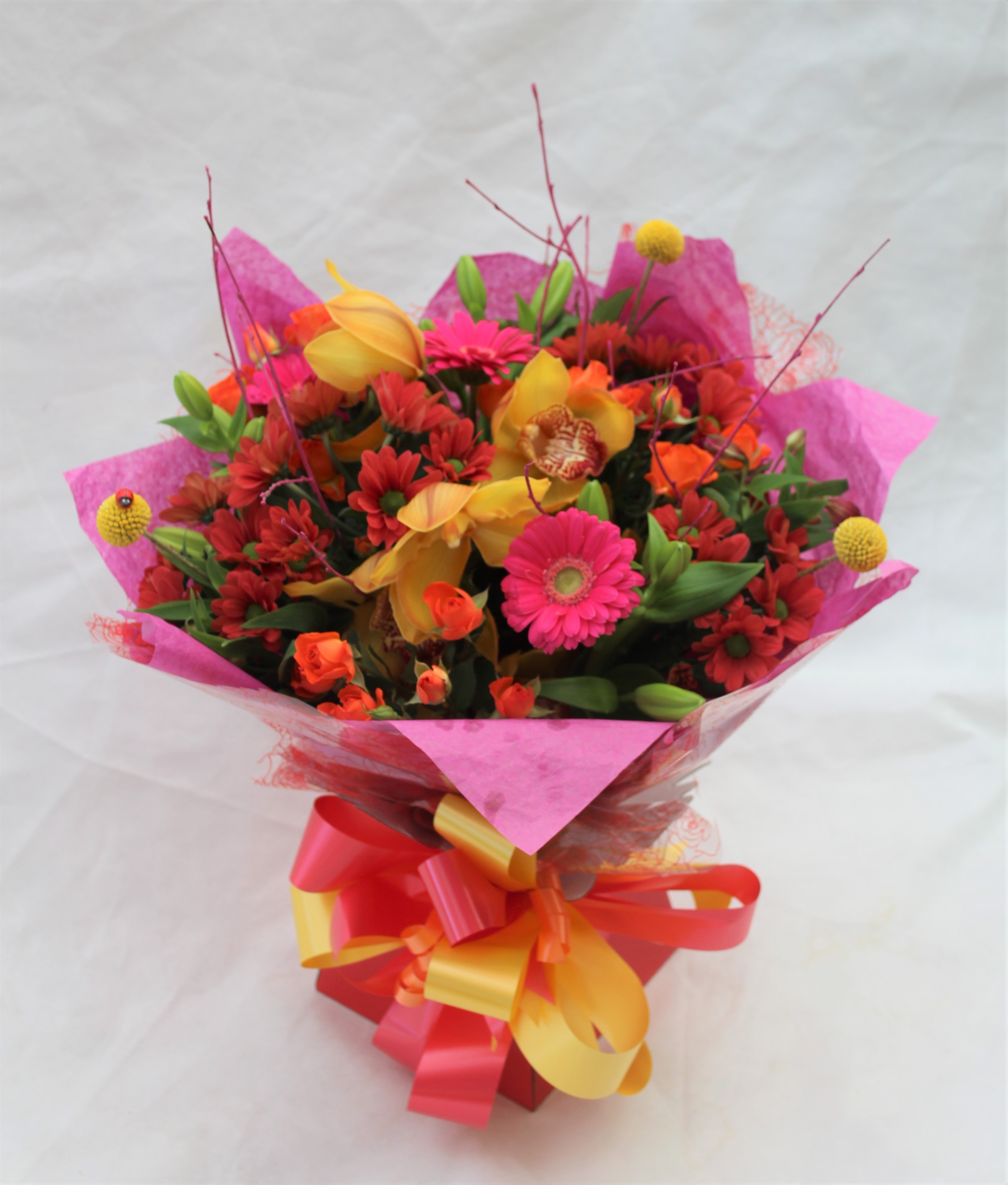 Hand Tied Cluster Bouquet of Mixed Bright Colours
