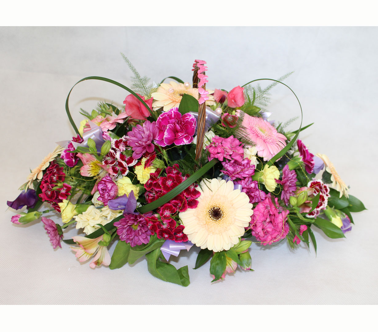 Basket Spray of Mixed Flowers and Colours