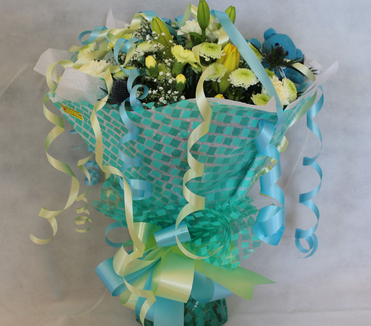 Hand Tied Cluster Bouquet of Blue and Yellow Flowers