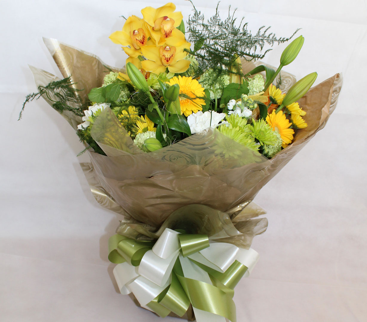 Beautiful Green and Yellow Hand Tied Cluster Bouquet