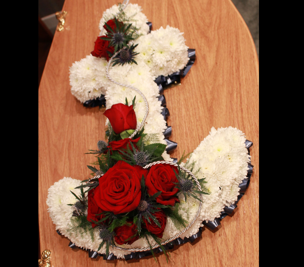 Floral Funeral Tributes White Anchor with Red Roses