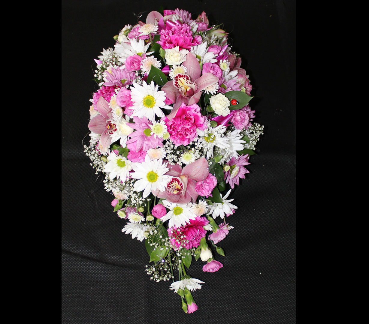 single ended Spray of Pink and White Flowers