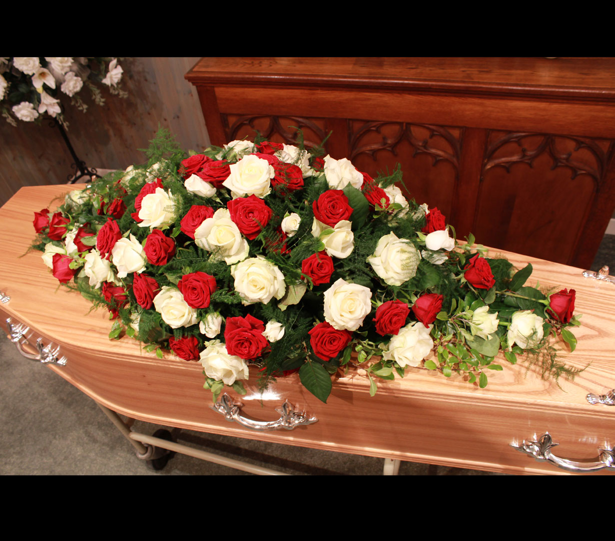 Funeral Spray of White and Red Roses