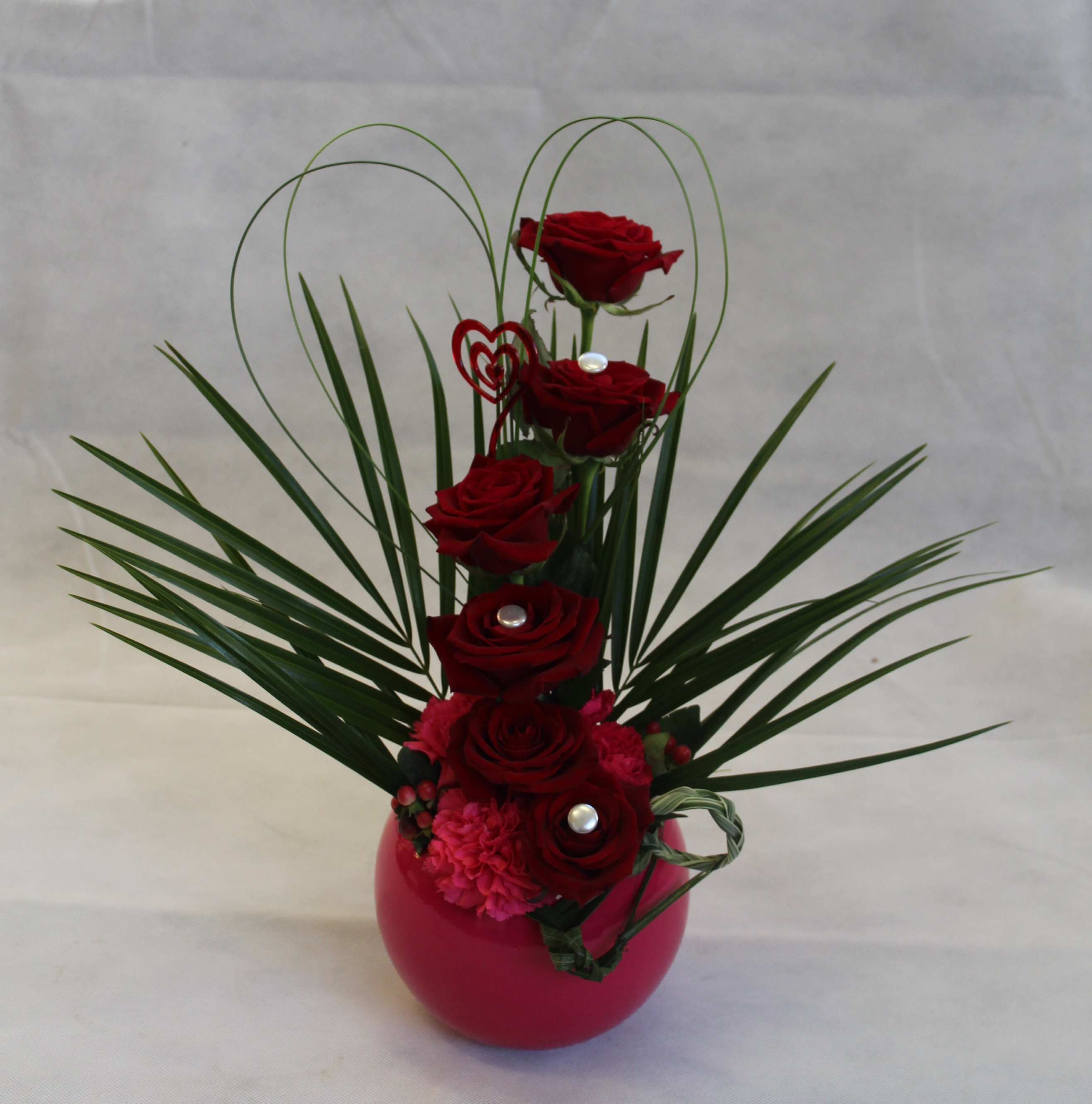 Heart Shaped Valentines Day Flower Arrangement