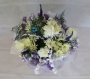 Hand Tied Cluster Bouquet of White and Purple Flowers Image 1