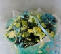 Hand Tied Cluster Bouquet of Blue and Yellow Flowers Image 1