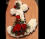 Floral Funeral Tributes White Anchor with Red Roses Image 0