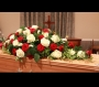 Funeral Spray of White and Red Roses Image 1