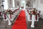 Red and Ivory reception wedding flowers