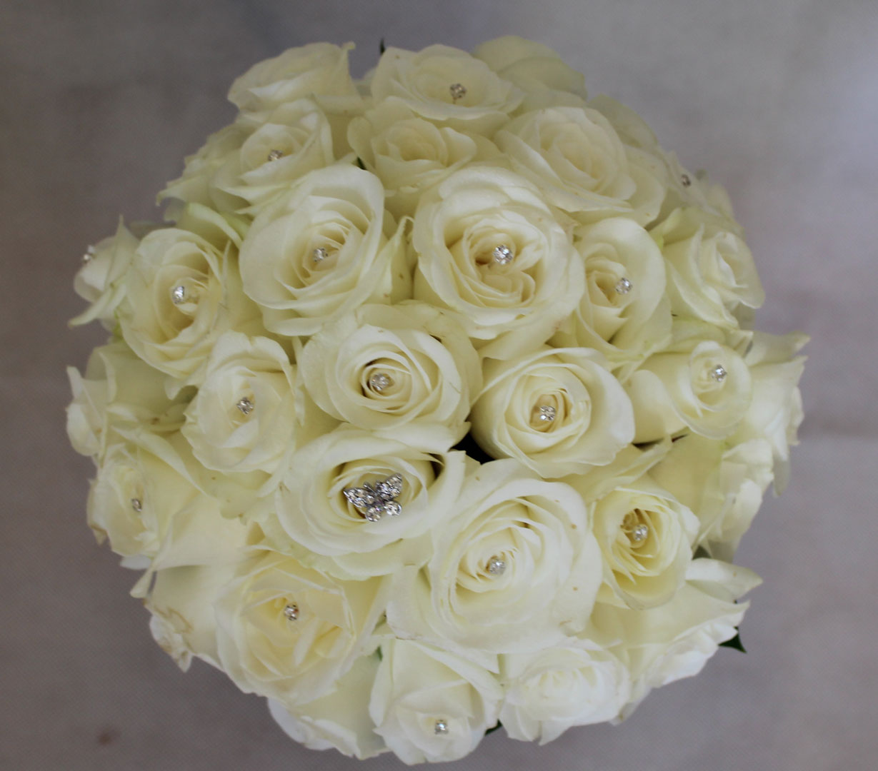 Wedding Bouquet of White Roses and Crystals
