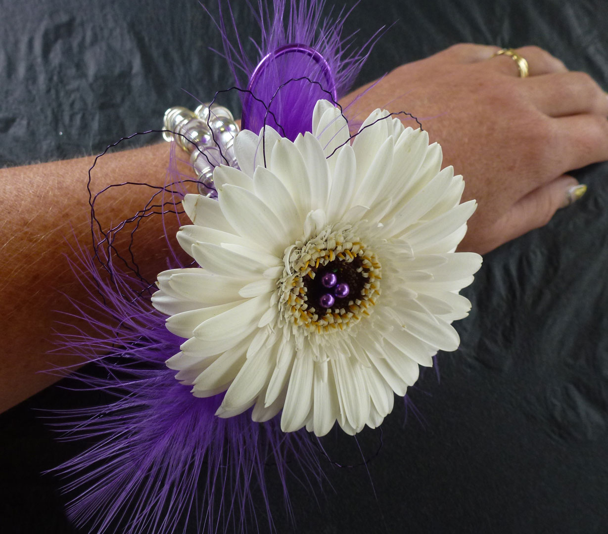 Purple Theme Daisy Wrist Corage
