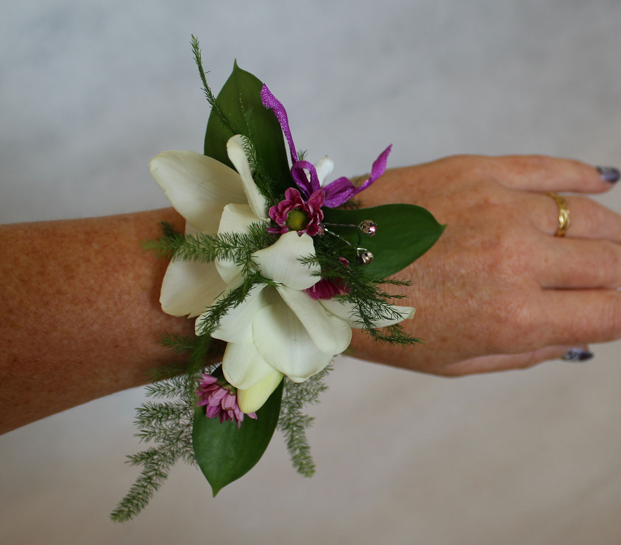 Dainty Freeshias and Crystals Wrist Corsage