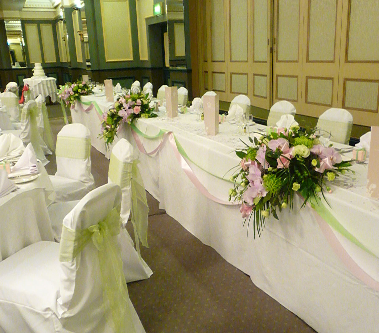 Wedding Reception Flowers Green & Pink Theme
