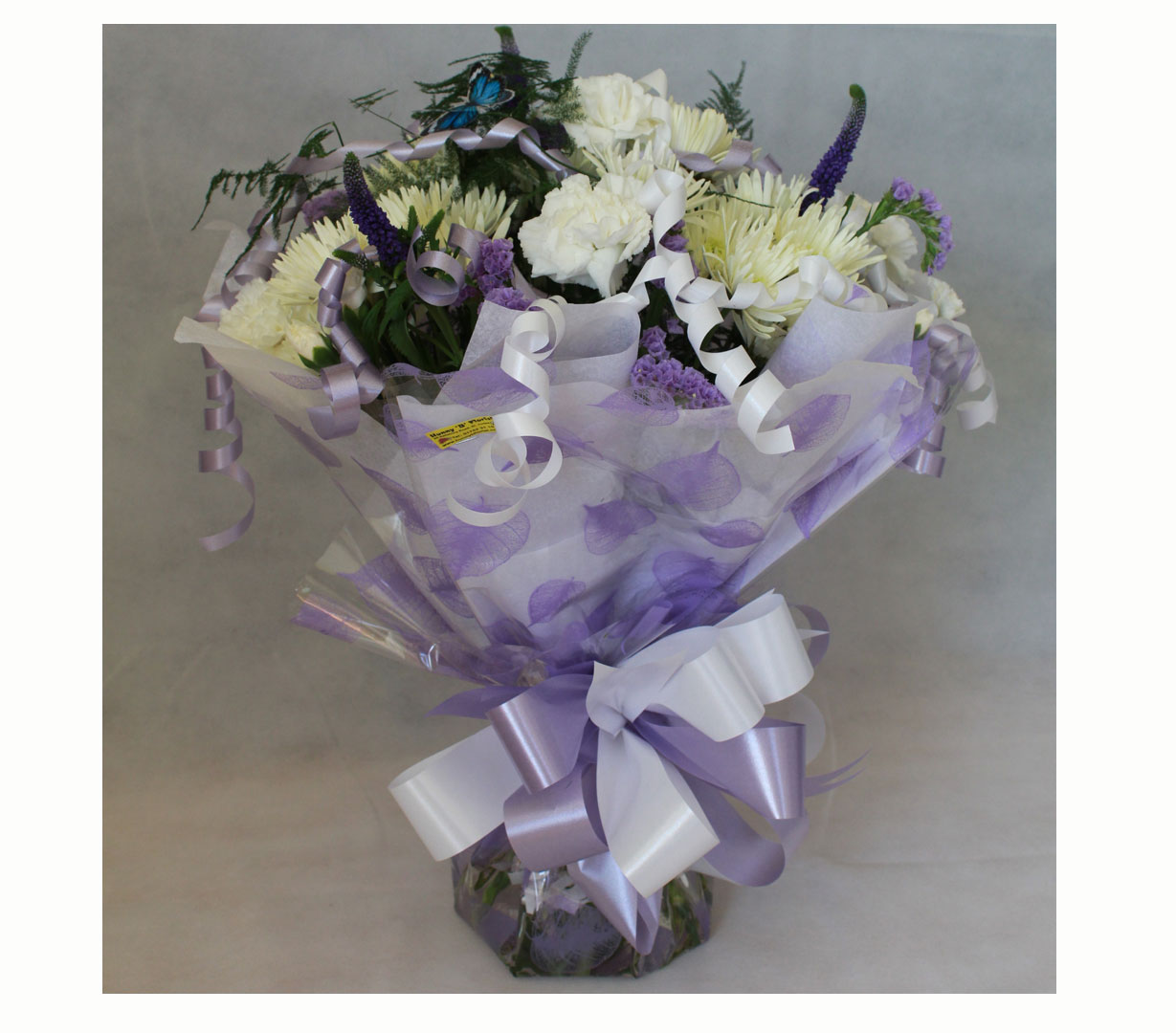 Hand Tied Cluster Bouquet of White and Purple Flowers